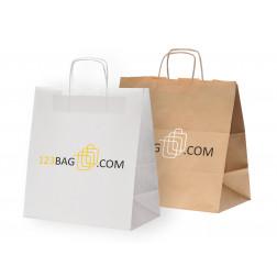 Papierkordeltasche mit Logodruck  für Take-away